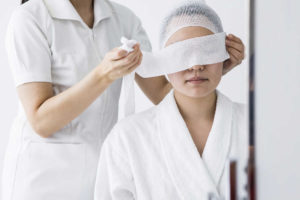 woman starting LASIK post operative care
