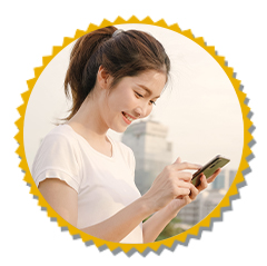woman smiling with cellphone